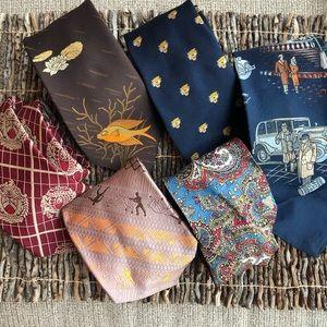 6 vintage wide neckties ties